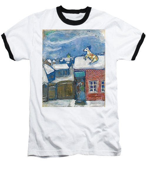 A Village In Winter Baseball T-Shirt by Marc Chagall
