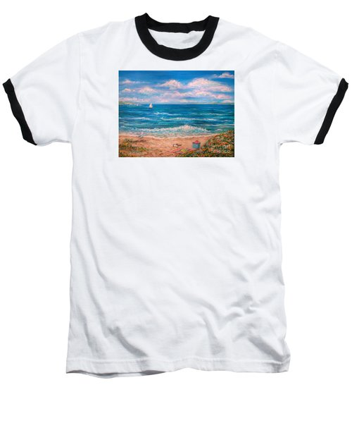 Baseball T-Shirt featuring the painting A Walk In The Sand by Dee Davis