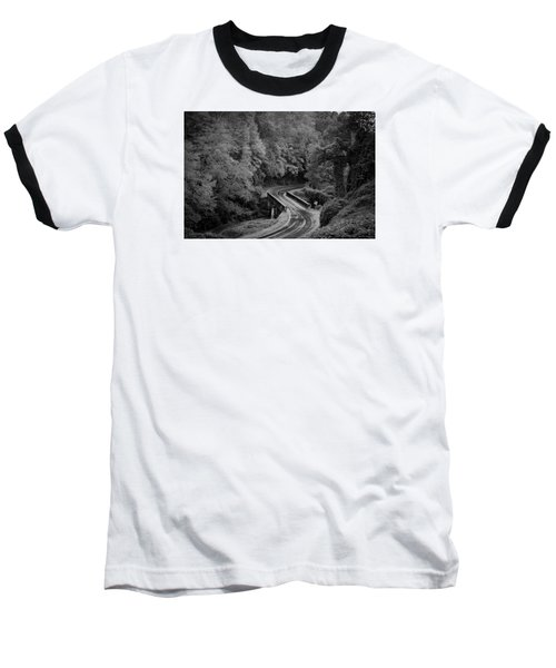 A Wet And Twisty Road Through The Blue Ridge Mountains In Black And White Baseball T-Shirt by Kelly Hazel