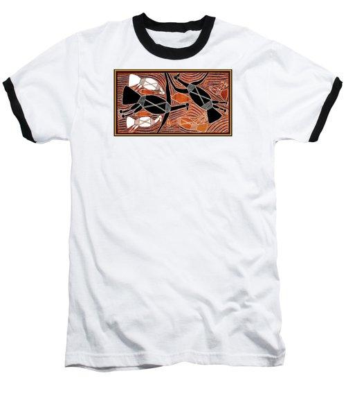 Aboriginal Birds Baseball T-Shirt by Vagabond Folk Art - Virginia Vivier