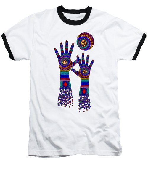 Aboriginal Hands Blue Transparent Background Baseball T-Shirt by Barbara St Jean