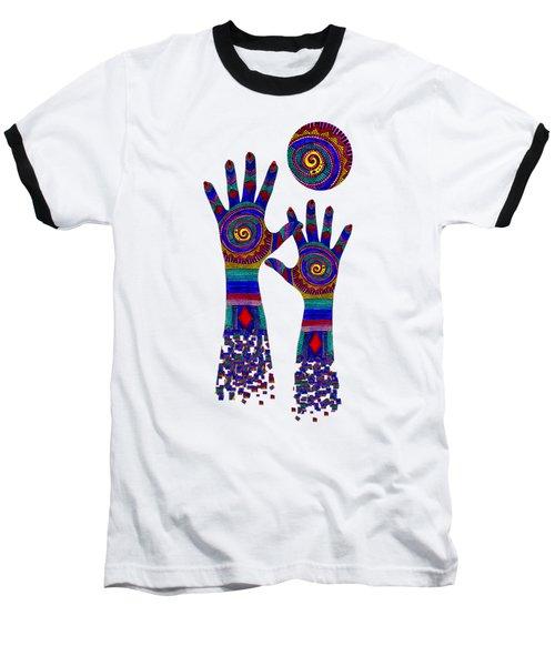 Aboriginal Hands Blue Transparent Background Baseball T-Shirt