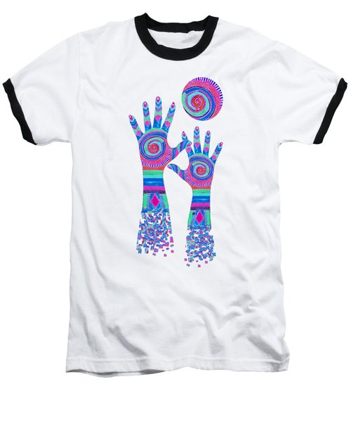Aboriginal Hands Pastel Transparent Background Baseball T-Shirt by Barbara St Jean