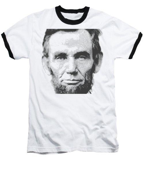 Abraham Lincoln - Parallel Hatching Baseball T-Shirt by Samuel Majcen
