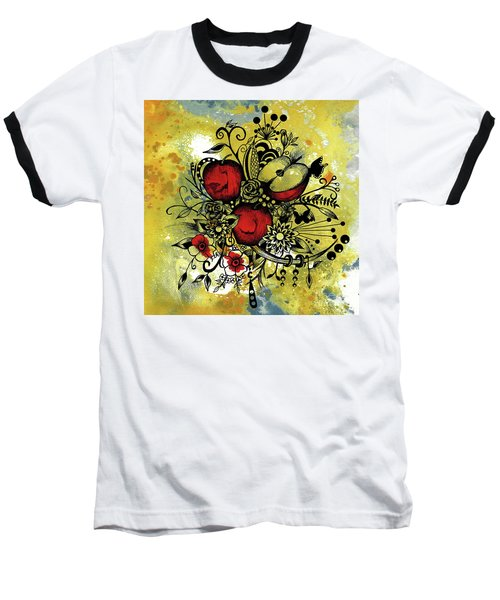 Abstract Acrylic Painting Apples II Baseball T-Shirt by Saribelle Rodriguez