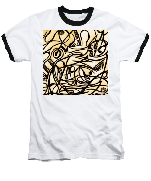 Abstract Art Gold 2 Baseball T-Shirt by Sumit Mehndiratta