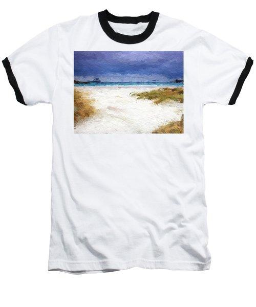 Baseball T-Shirt featuring the digital art Abstract Beach Horizon by Anthony Fishburne