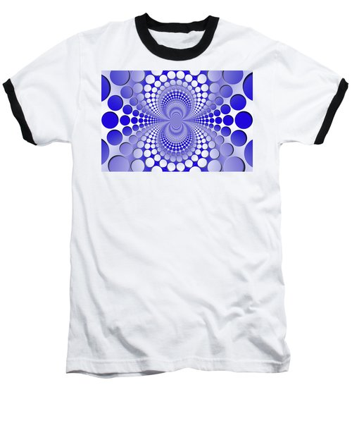 Abstract Blue And White Pattern Baseball T-Shirt