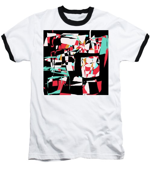 Abstract Boxes Baseball T-Shirt by Jessica Wright