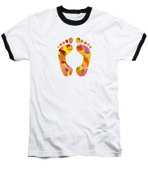 Abstract Footprints On Canvas Baseball T-Shirt