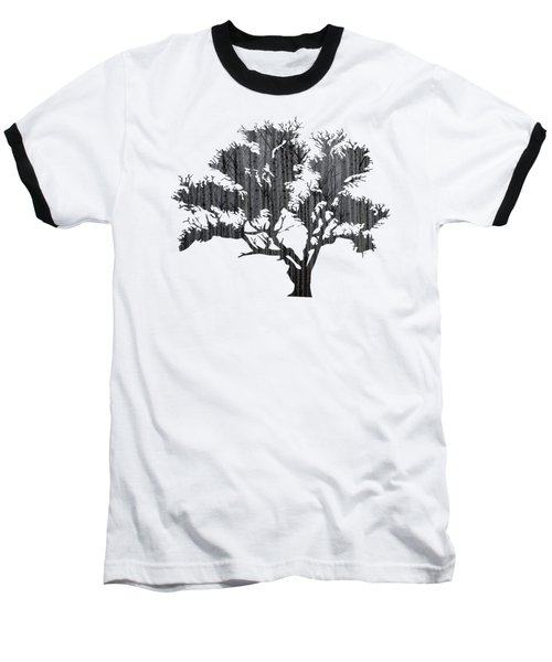 Abstract Gray Tree Baseball T-Shirt