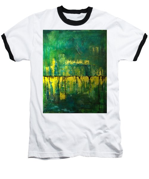 Baseball T-Shirt featuring the painting Abstract In Yellow And Green by Jocelyn Friis