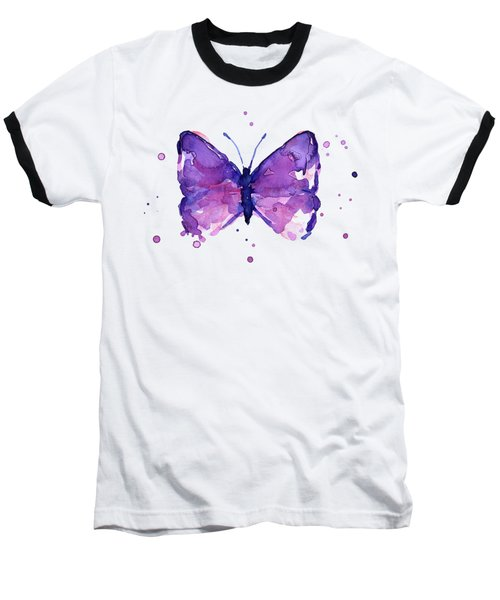 Abstract Purple Butterfly Watercolor Baseball T-Shirt