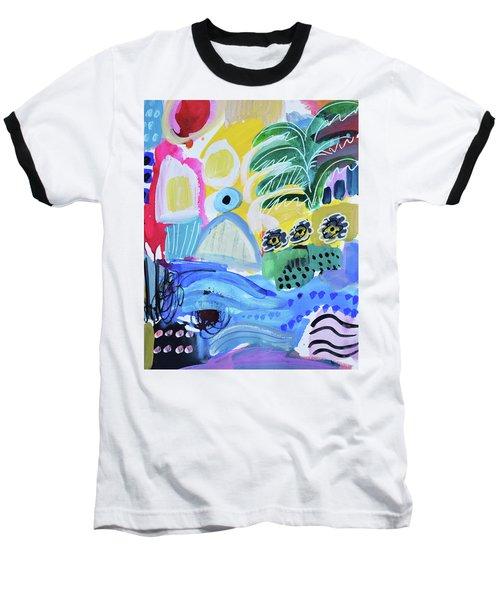 Abstract Tropical Landscape Baseball T-Shirt by Amara Dacer