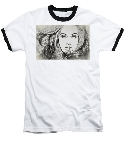 Adele Charcoal Sketch Baseball T-Shirt