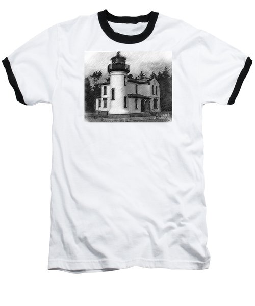 Baseball T-Shirt featuring the digital art Admiralty Head Lighthouse Sketched by Kirt Tisdale