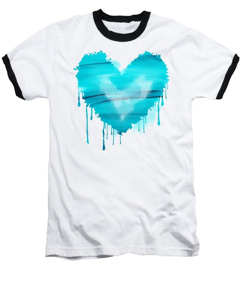 Baseball T-Shirt featuring the painting Adrift In A Sea Of Blues Abstract by Nikki Marie Smith