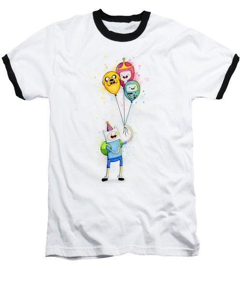 Adventure Time Finn With Birthday Balloons Jake Princess Bubblegum Bmo Baseball T-Shirt by Olga Shvartsur