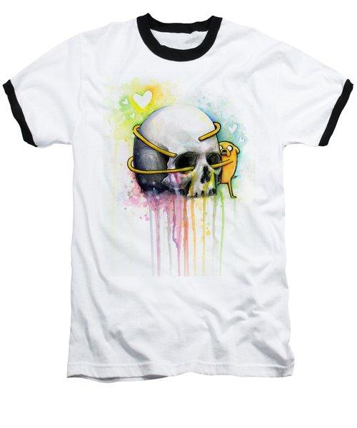 Adventure Time Jake Hugging Skull Watercolor Art Baseball T-Shirt