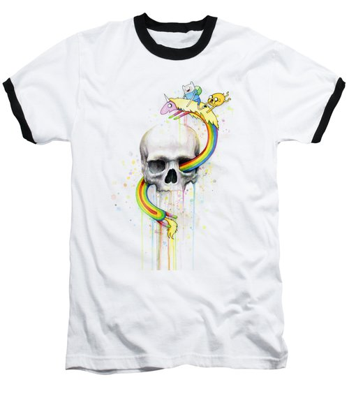 Adventure Time Skull Jake Finn Lady Rainicorn Watercolor Baseball T-Shirt