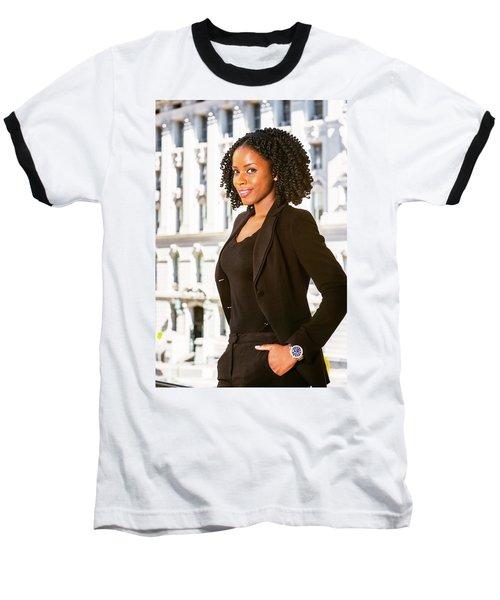 African American Businesswoman Working In New York Baseball T-Shirt