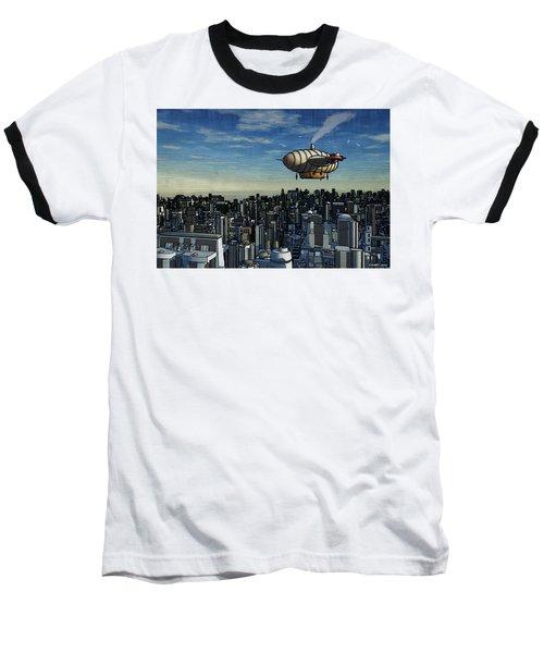 Airship Over Future City Baseball T-Shirt by Ken Morris
