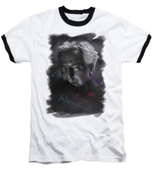 Baseball T-Shirt featuring the drawing Alan Rickman by Julia Art