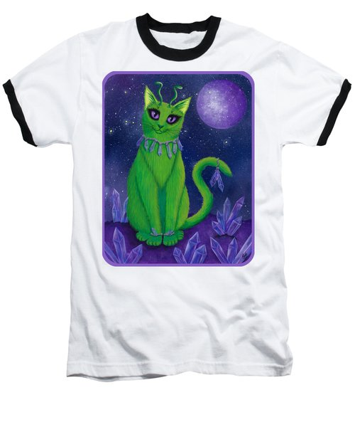 Baseball T-Shirt featuring the painting Alien Cat by Carrie Hawks