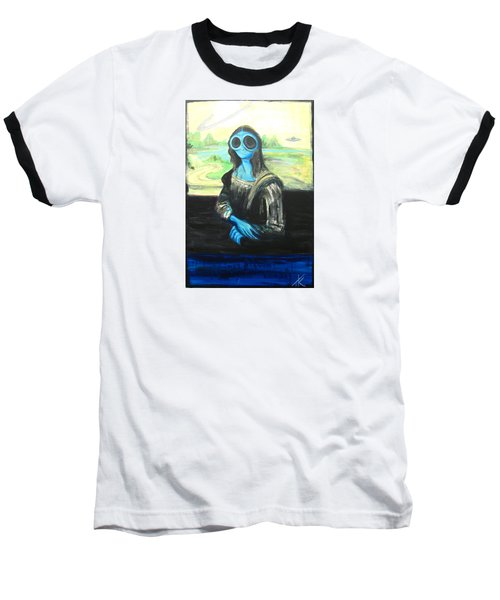 alien Mona Lisa Baseball T-Shirt