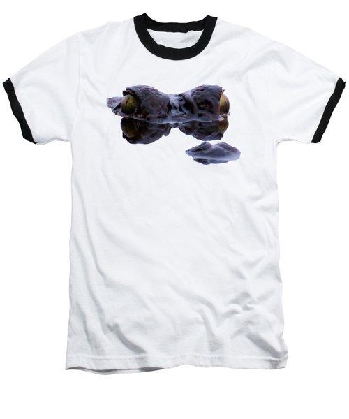 Alligator Eyes On The Foggy Lake Baseball T-Shirt by Zina Stromberg