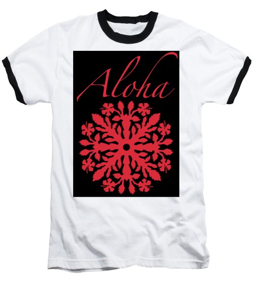 Aloha Red Hibiscus Quilt T-shirt Baseball T-Shirt by James Temple