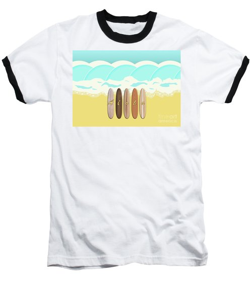 Aloha Surf Wave Beach Baseball T-Shirt