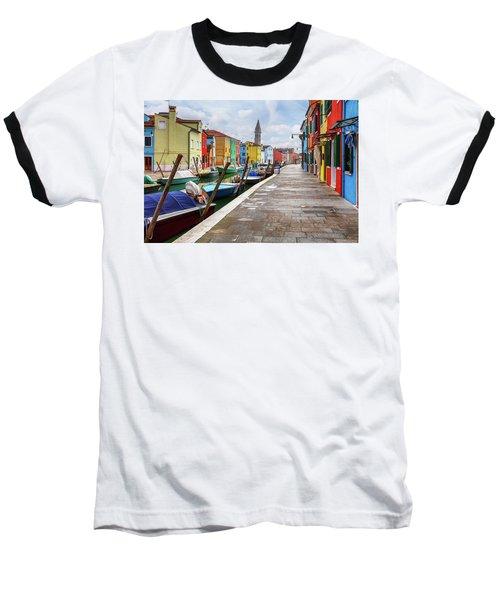 Along The Canal In Burano Island Baseball T-Shirt