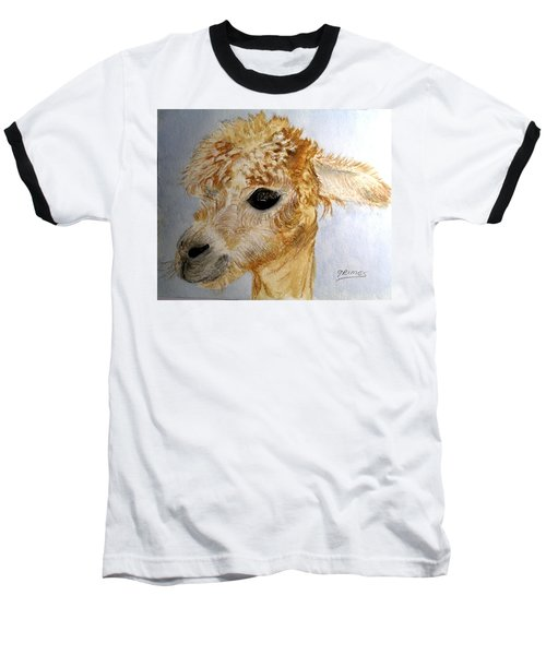 Baseball T-Shirt featuring the painting Alpaca Cutie by Carol Grimes