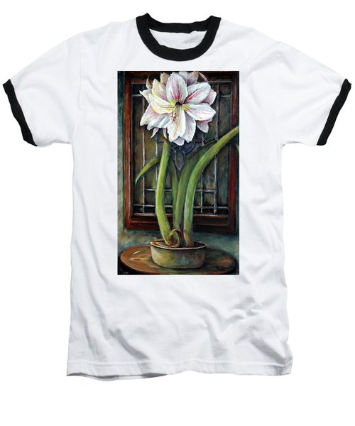 Baseball T-Shirt featuring the painting Amaryllis In The Window by Bernadette Krupa
