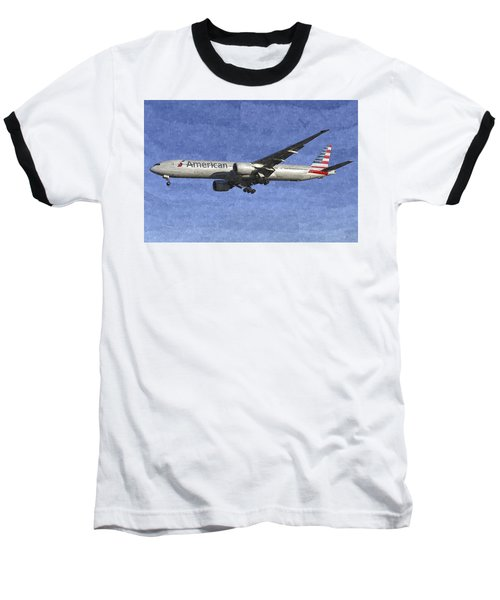 American Airlines Boeing 777 Aircraft Art Baseball T-Shirt