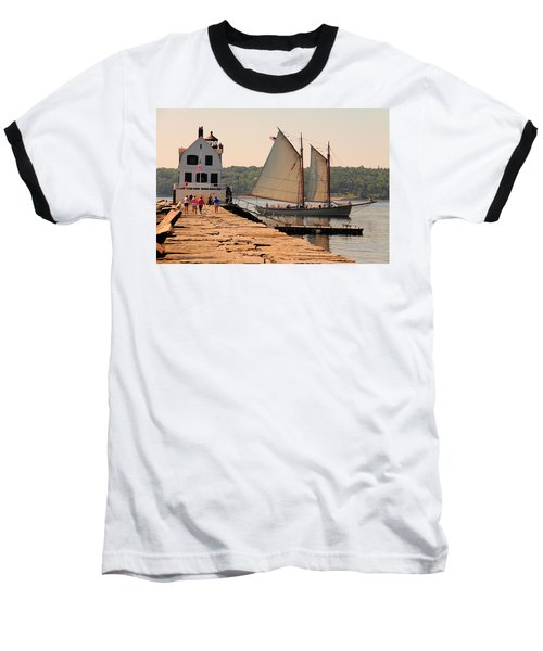 American Eagle At The Lighthouse Baseball T-Shirt