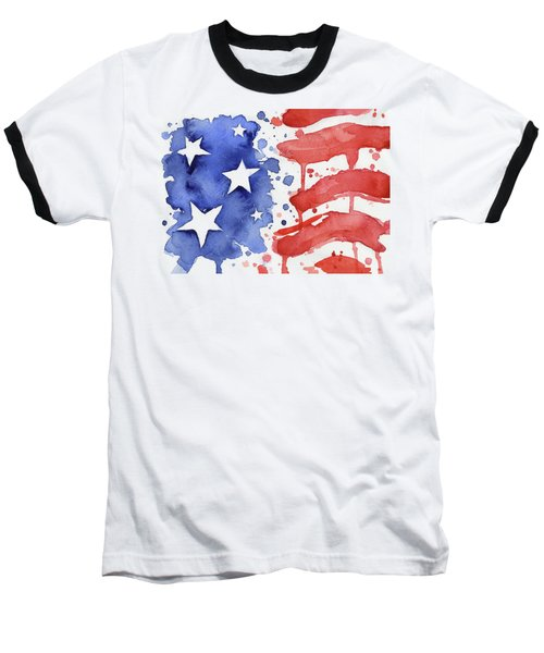 American Flag Watercolor Painting Baseball T-Shirt