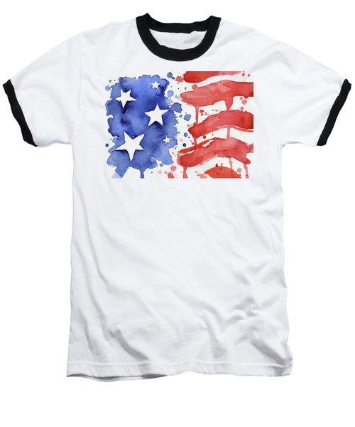 American Flag Watercolor Painting Baseball T-Shirt