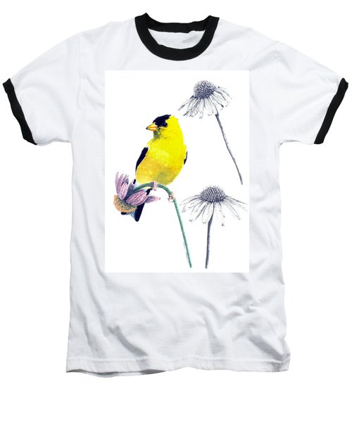 American Goldfinch On Coneflowers Baseball T-Shirt
