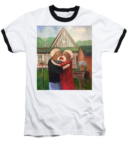 American Gothic The Monkey Lisa And The Holler Baseball T-Shirt by Randy Burns