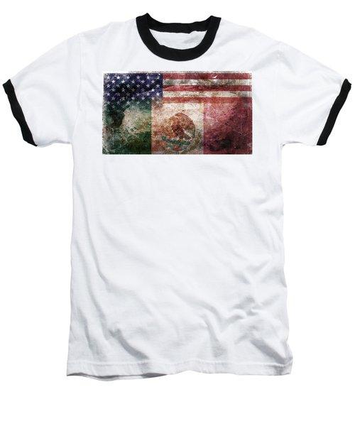 American Mexican Tattered Flag  Baseball T-Shirt