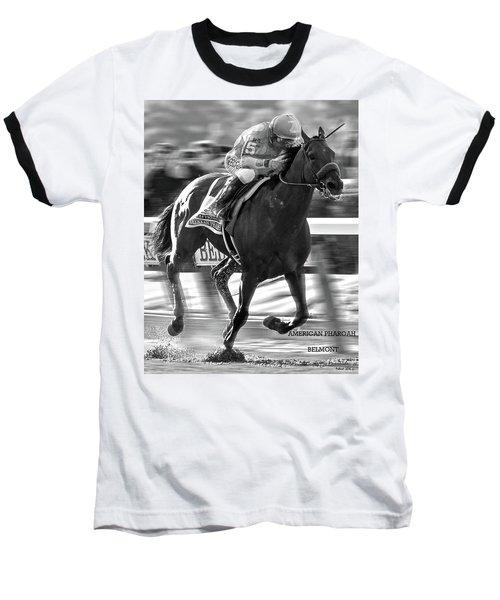 American Pharoah And Victor Espinoza Win The 2015 Belmont Stakes Baseball T-Shirt by Thomas Pollart