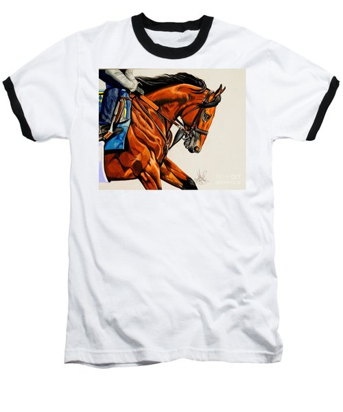 American Pharoah - Triple Crown Winner In White Baseball T-Shirt by Cheryl Poland