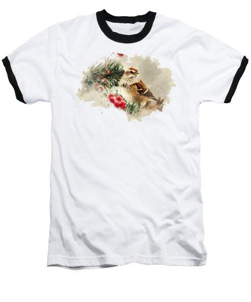 American Tree Sparrow Watercolor Art Baseball T-Shirt by Christina Rollo