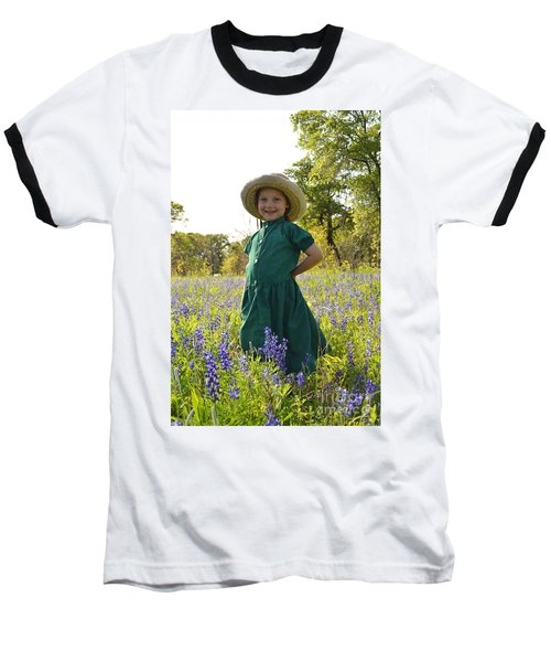 Amish Girl And Blue Bonnets I Baseball T-Shirt by Carolina Liechtenstein