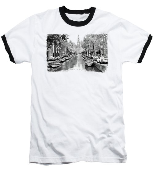 Amsterdam Canal 2 Black And White Baseball T-Shirt by Marian Voicu