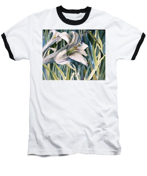 Baseball T-Shirt featuring the painting An Easter Lily by Mindy Newman