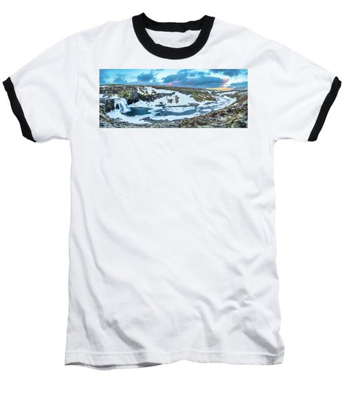 An Icy Waterfall Panorama During Sunrise In Iceland Baseball T-Shirt by Joe Belanger