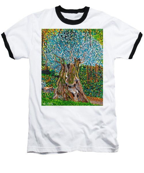 Ancient Olive Tree Baseball T-Shirt by Valerie Ornstein
